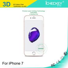 La cubierta completa 2016 de la fibra de carbono de Icheckey 3D moderó el protector de cristal de la pantalla para iphone7