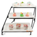 High Quality Commercial party Buffet Dessert Fruit 3 Layer Cake Stand with Ceramic Food Tray