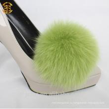 Модный аксессуар Fox Fur Pom Poms для туфлей на высоком каблуке
