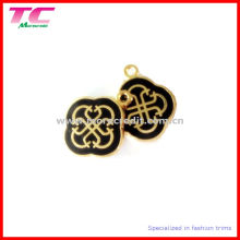 Charme de metal personalizado em ouro brilhante com esmalte preto