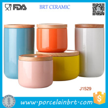 Customized Printing Ceramic Candle Jar/Holder Canister with Bamboo/Ceramic Lid