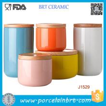 Frasco cerâmico personalizado da impressão da impressão / cartucho do suporte com bambu / tampa cerâmica