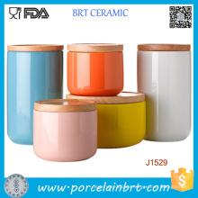 Kundengebundenes Drucken keramisches Kerzenglas / Inhaber-Kanister mit Bambus- / keramischem Deckel