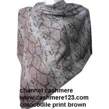 Mantón cuadrado de seda Cashmere Ty0905 # Brown Corocodile