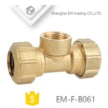 EM-F-B061 3-Wege-Messing Spanien Sanitär Rohrverschraubung mit zwei Kompressionsgelenk und einem Innengewinde