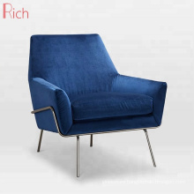 Nordic Furniture Blue Sofa Wire Base Fabric Velvet Armchair For Home