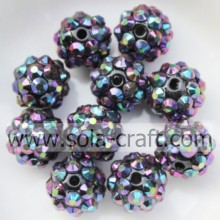 Handmade Purple Multicolor Opaque Resin Rhinestone Beads10*12MM