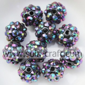 Handmade roxo Multicolor resina opaca strass Beads10 * 12MM