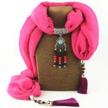Femmes Solid Tassel Collier Écharpe Pendentif Châle