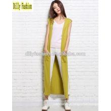 Casaco cardavel de malha longa e comprida sem mangas para camisola de cashmere feminina