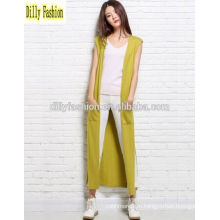 Мода рукавов длинный открытый кардиган леди женщин кашемировый свитер кардиган