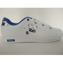 Rhinestone Blue Flower Printed White Women Skate Shoes