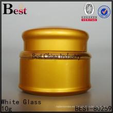 10g cosmético del tarro de aluminio, tapa cosmética del envase del tarro de la crema del metal de oro, venta al por mayor, 2 muestras gratis, en China