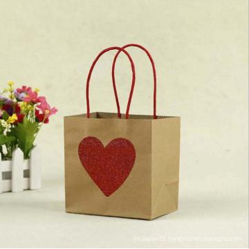 MOQ 500 Red Color Heart Shape Picture Lovely Kraft Paper Gift Bag