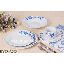 Ensemble à dîner rond en porcelaine bleue et blanche