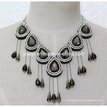 Frau Mode Charme Glas Kristall Anhänger Kragen Halskette Schmuck (JE0205)