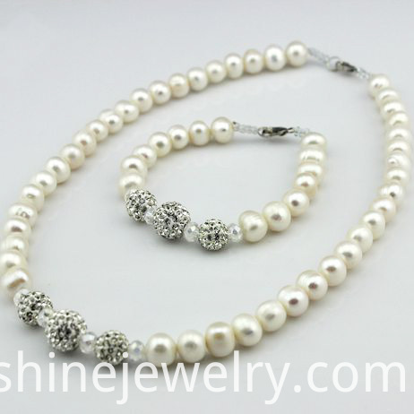 Imitation Pearl Shamballa Beads Necklace