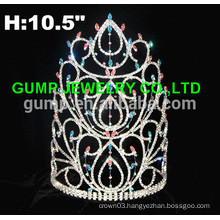 new fashion large red pageant rhinestone crown and tiara