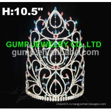 Новая мода большой красный конкурс стразы корону и тиару