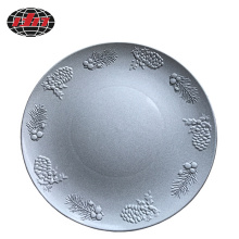 Silver Pine Nuts Edge Plastic Plate
