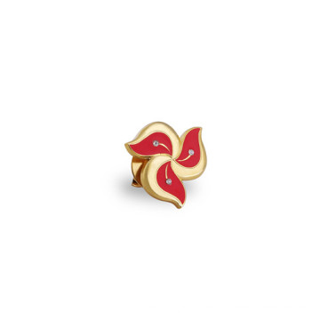 Esmalte pin dorado de solapa, insignia de organización (GZHY-LP-008)
