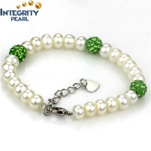 7mm AAA with Green Crystal Ball Freshwater Bread Round Pearl Bracelet