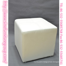 hot sale white leather cube ottoman