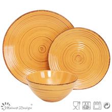 18PCS Antiqute Orange avec ensemble de dîner en céramique brosse