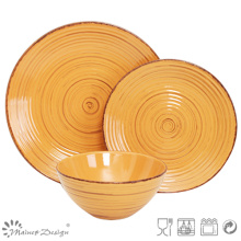 18PCS Antiqute Orange with Brush Ceramic Dinner Set