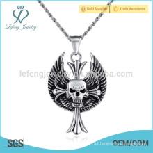 Pingente de penas de fantasia de metal para jóias, pingente de pena de diamante crânio