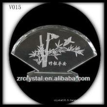 Cristal en forme de fan de K9 avec image de sablage