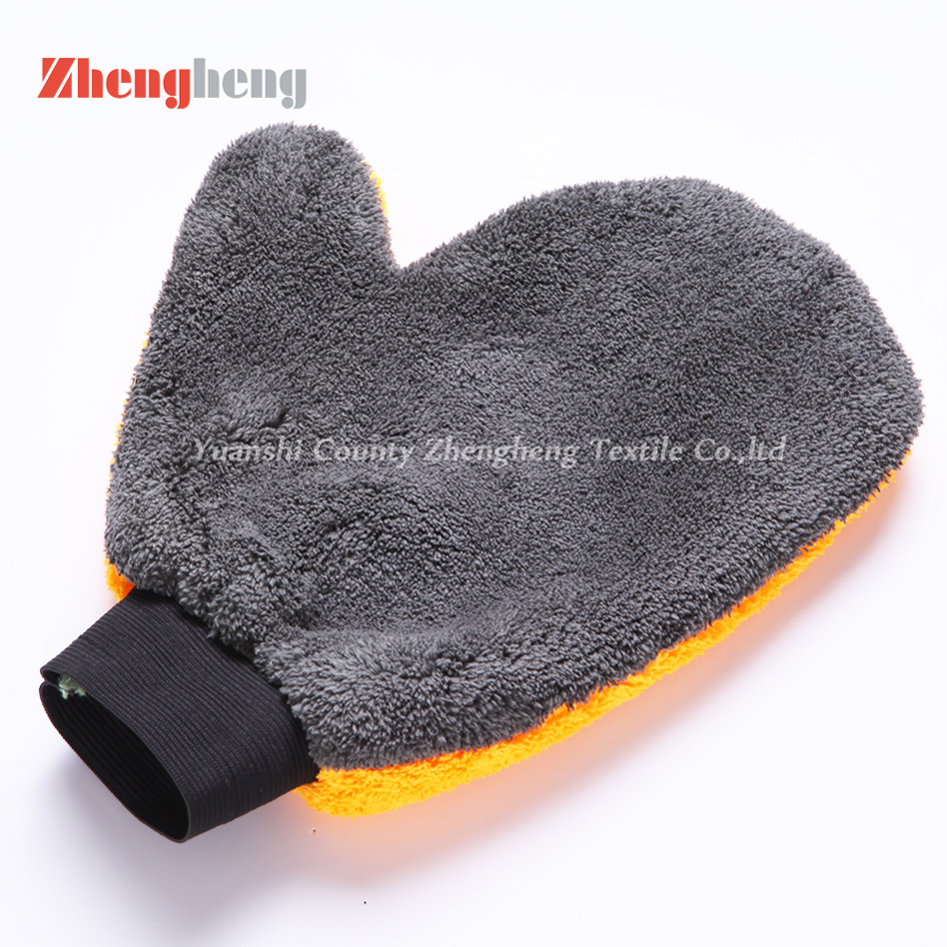Composited Coral Fleece Microfiber Car Cleaning Gloves