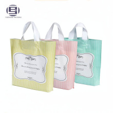 Beautiful custom printing foldable grocery shopping bags with plastic hard loop handle