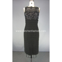 Sleeveless Pleated Lace Black Cocktail Dress