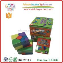 Heißer Verkauf 21pcs Blockfreunde für Kinder hölzernes pädagogisches Kartenspiel, hölzerner pädagogischer Block