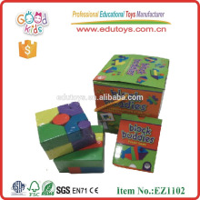 hot sale 21pcs block buddies for kids wooden educational card game, wooden educational block
