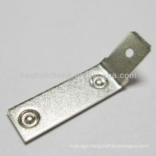 steel silver plated 45 degree double spot welding terminal used for Washing machine electric heater / heating appliance