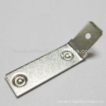 acier inoxydable plaqué 45 degrés double point de soudage terminal utilisé pour machine à laver électrique chauffage / appareil de chauffage
