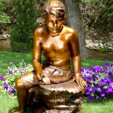 sculpture extérieure contemporaine métal artisanat vie taille garçon bronze statue enfants