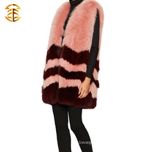 Luxury Womens Real Fox Fur Vest Coat Sleeveless Long Style Fur Waistcoat