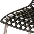 Venta al por mayor de muebles baratos de plástico de acero de ocio jardín comedor silla hueco apilable