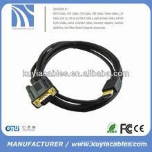 6FT ORO PLATEADO VGA 15PIN MASCULINO A HDMI MALE CABLE