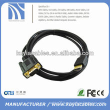 6FT GOLD PLATED VGA 15PIN MALE TO HDMI MALE CABLE