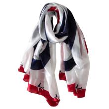 2017 recién llegado de ventas calientes barato diseño plano impresión imitada bufanda de seda bufanda de poliéster al por mayor