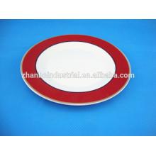 Placas de porcelana de forma redonda placa de cerámica de calcomanía completa