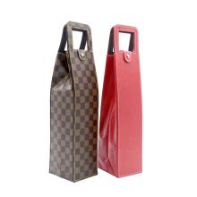 2021 Wine Bag Custom PU Cardboard Luxury Folding single bottle wine bag gift packaging bag