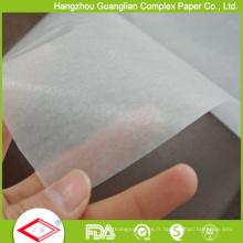 Papier d'emballage de nourriture de papier de silicone blanc naturel de 24GSM