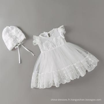 2018 été nouveau bébé robe robe de couleur blanche fille avec un chapeau pour anniversaire
