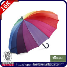 30 16 ribs happy rainbow straight golf umbrella with logo printing