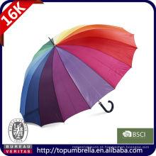 30 guarda-chuva reto do golfe do arco-íris feliz de 16 reforços com impressão do logotipo